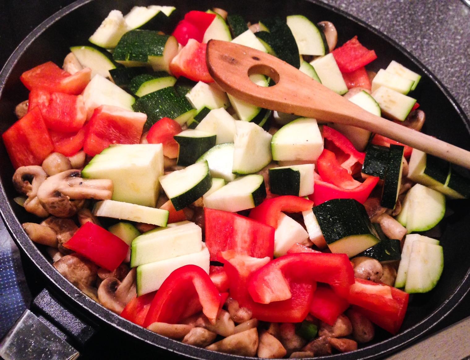 Zutaten fettarme, low Carb Gemüsepfanne