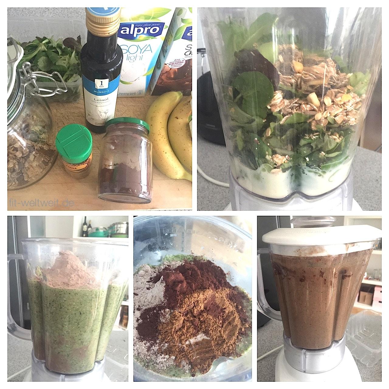 Alle Schritte von den Zutaten zum leckeren detox Protein Smoothie.
