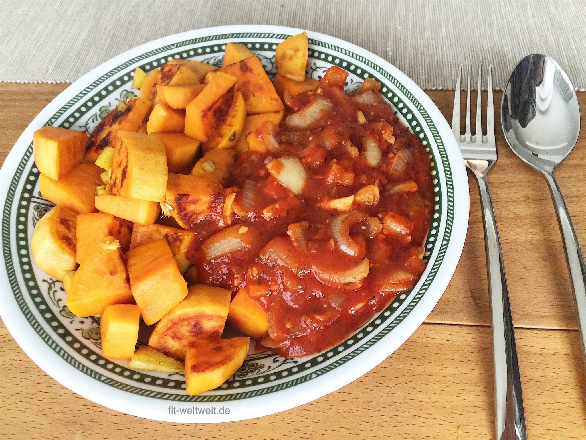 Zutaten für die vegane Süßkartoffelpfanne mit Tomatensauce und Ingwer
