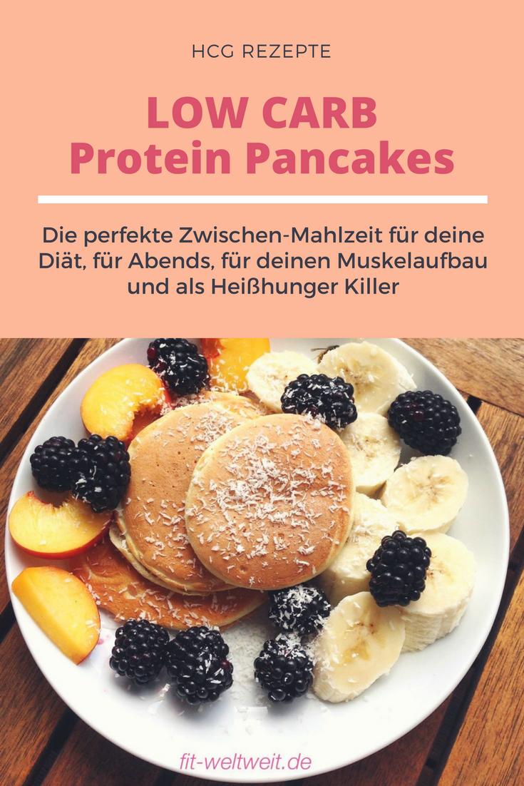 hcg LOW CARB Protein Pancakes Rezept - Low Carb Pancakes: Diät geeignet (zB 21 Tage Stoffwechselkur), Abendsnack, Heißhungerkiller, Muskelaufbau. Ohne Banane und Quark, mit Eiweißpulver.