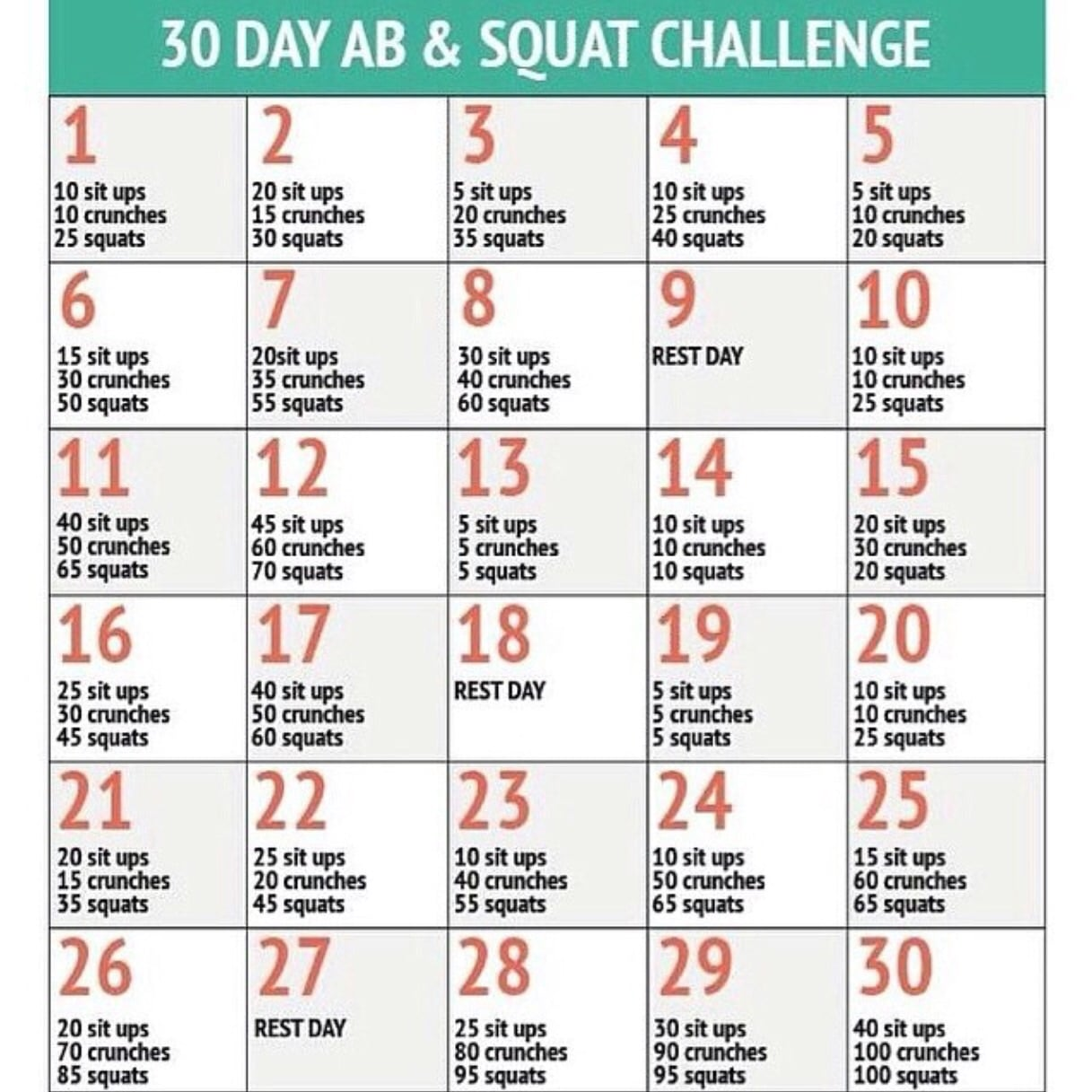 30 Tage Challenge Bauch Beine Po Sixpack Abs Squads Fit