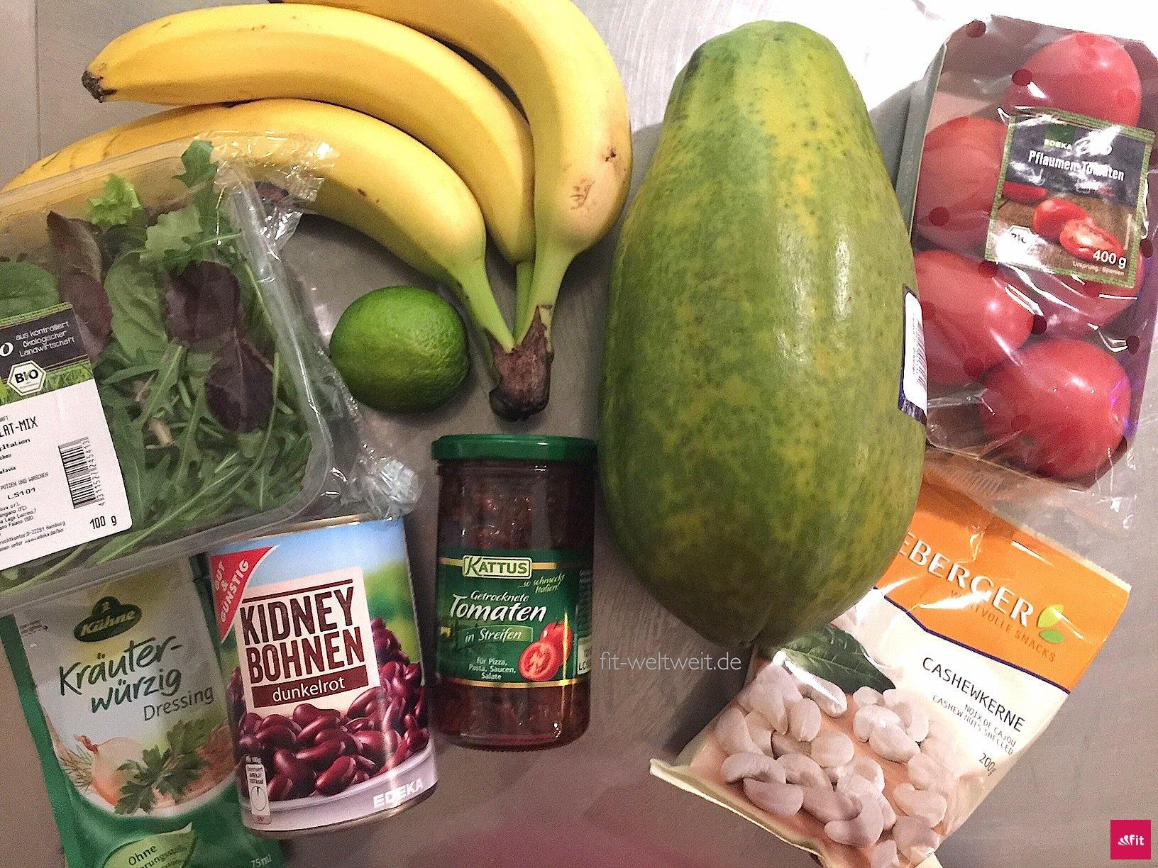 Zutaten für veganen Salat - vegan mit Proteine für die Stoffwechselkur (Stabilisierungsphase)