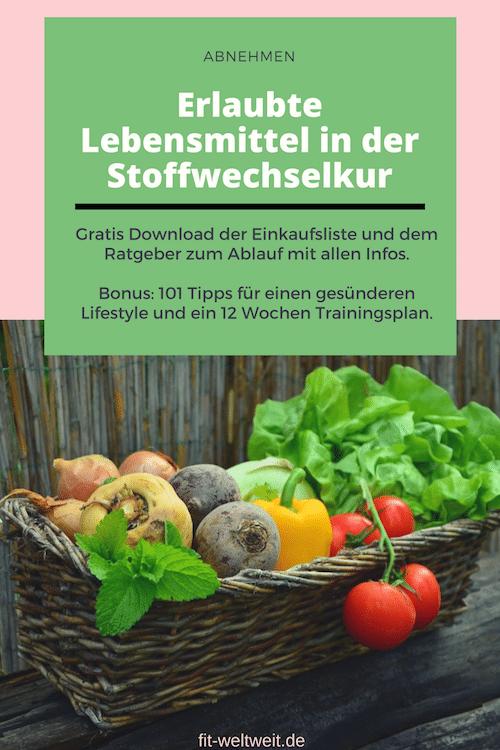 Erlaubte Lebensmittel in der Stoffwechselkur Stoffwechselkur (gratis Einkaufsliste pdf)