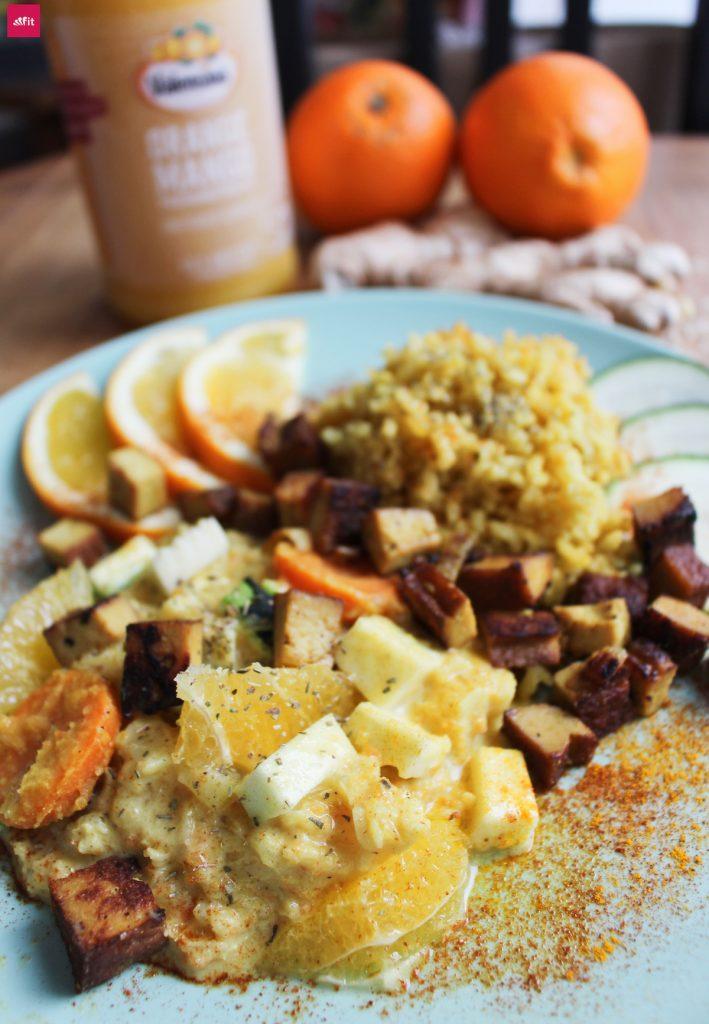 Orangen Curry Orangen Reispfanne Rezept: Veganes Orangen Curry Rezept mit gebratenem Tofu, Ingwer, Valensina Orangen (glutenfrei, zuckerfrei, low Carb) leicht scharfe Soße, einfache Zubereitung, orientalische Gewürze
