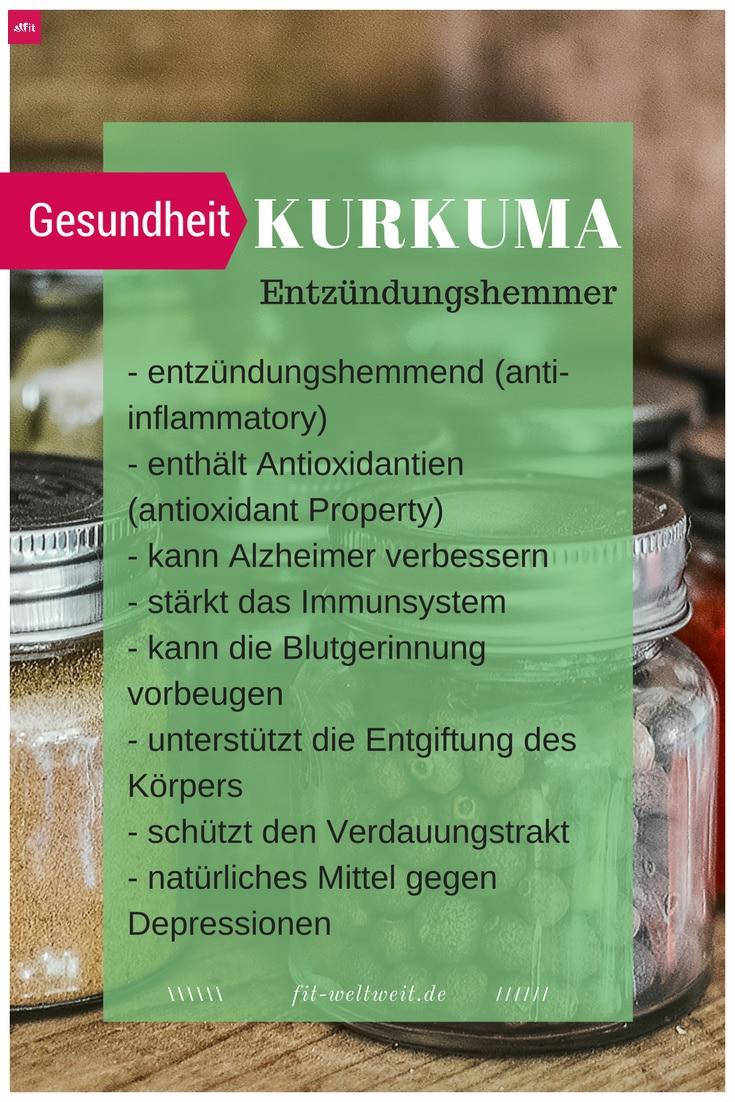 #KURKUMA #WIRKUNG #SUPERFOOD #GESUNDHEIT #GESUND Kurkuma – Entzündungshemmer Entzündungshemmend (anti-inflammatory) enthält Antioxidantien (antioxidant Property) kann Alzheimer verbessern stärkt das Immunsystem kann die Blutgerinnung vorbeugen unterstützt die Entgiftung des Körpers schützt den Verdauungstrakt natürliches Mittel gegen Depressionen