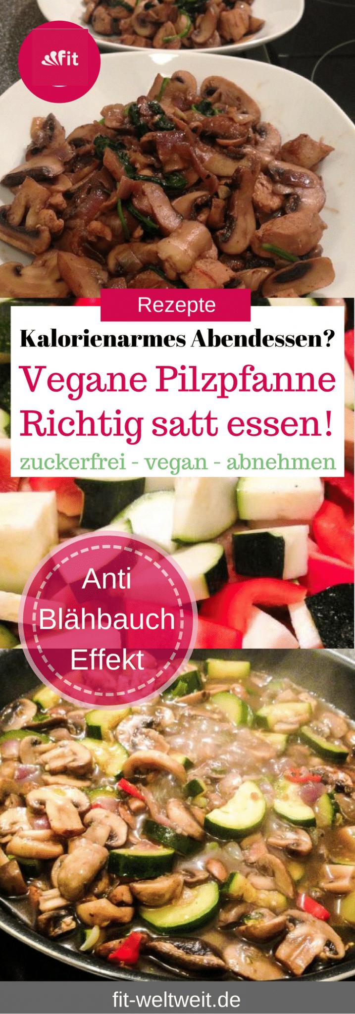 Vegane Pilzpfanne: Vegane, kalorienarme Pilzpfanne mit Zucchini, Paprika und Zwiebeln. Veganes und kalorienarmes Abendessen? Diät geeignet, zum Abnehmen, zuckerfrei und super lecker. So viel essen, wie du magst auch während der Diät #vegan #lowcarb #Diät #abenehmen #Rezepte #Stoffwechselkur