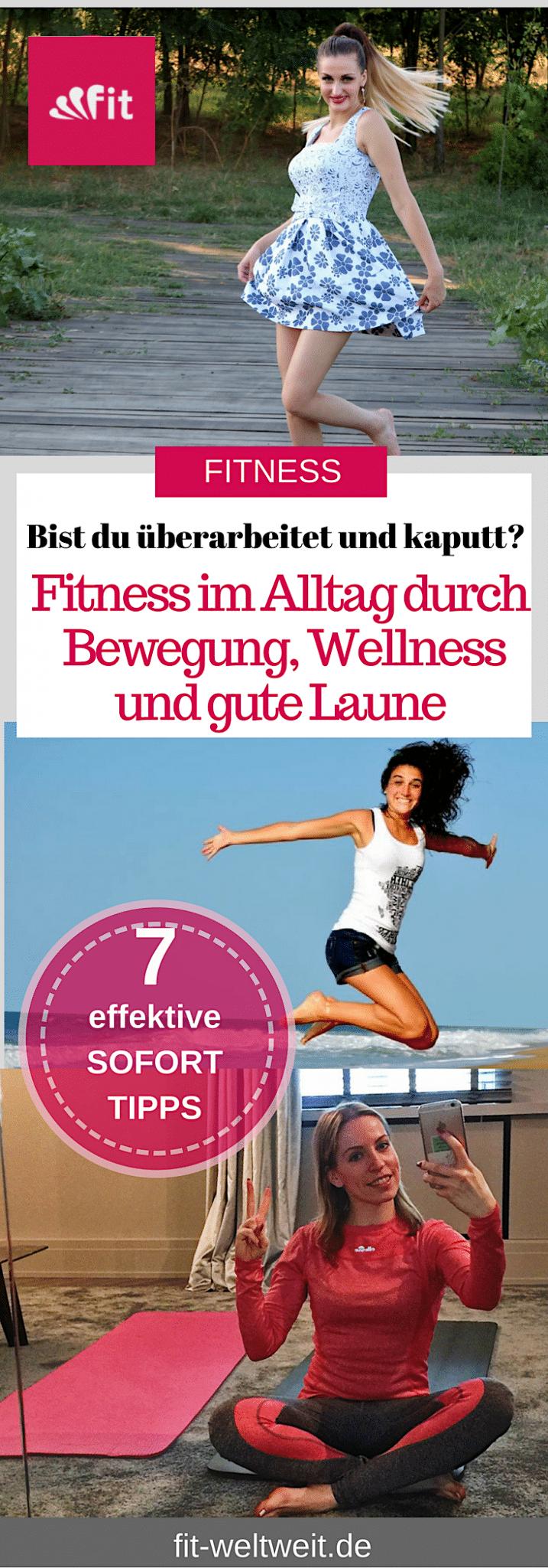 Fitness im Alltag - wie soll das denn funktionieren?Man kommt ja so schon zu nichts.#Bewegung und Wellness sollst dunun auch nochintegrieren?!Auch bei diesem Themen (ähnlichbeimThema trinken) reden alle davon, wie easy es ist,doch wie setzen die Menschen das in der Realität um?Was kannst du exakt tun, um gesünder im Alltag zu leben?#Fitness im #Alltag durch diese 7 effektiven SOFORT- Tipps für Wellness und gute Laune #Fitness #Alltag #Tipps