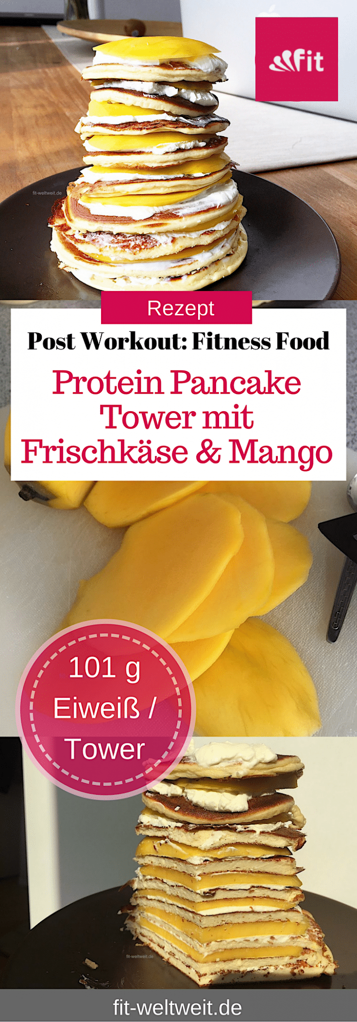 rezept protein pancake tower mit frischk se und mango. Black Bedroom Furniture Sets. Home Design Ideas