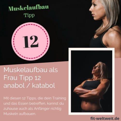 Muskelaufbau Tipp 12 #Anabolismus und #Katabolismus: Um als #Frau Muskeln aufbauen zu können solltest du einige Tipps beachten. Mit diesen 12 Tipps, die dein Training und das Essen betreffen, kannst du zuhause auch als Anfänger richtig Muskeln aufbauen. Zusätzlich habe ich für dich einen #Muskelaufbau #Trainingsplan (speziell für Frauen) mit effektiven HIIT Übungen. Natürlich gelten die Tipps auch für Fitnessstudio Gänger. gesamten Körper (Bauch, Beine, Brust, Po, Arme un