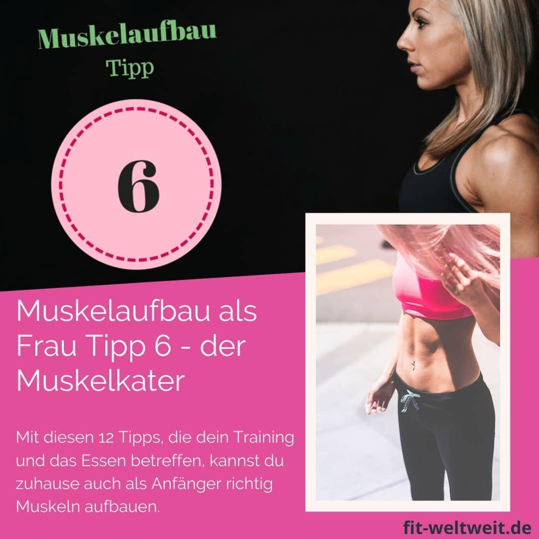 Muskelaufbauals Frau Tipp 6 - der Muskelkater. Tipp 6 Muskelwachstum. Um als #Frau Muskeln aufbauen zu können solltest du einige Tipps beachten. Mit diesen 12 Tipps, die dein Training und das Essen betreffen, kannst du zuhause auch als Anfänger richtig Muskeln aufbauen. Zusätzlich habe ich für dich einen #Muskelaufbau #Trainingsplan (speziell für Frauen) mit effektiven HIIT Übungen. Natürlich gelten die Tipps auch für Fitnessstudio Gänger. Die Tipps betreffen den gesamten Körper (Bauch, Beine, Brust, Po, Arme und Rücken).