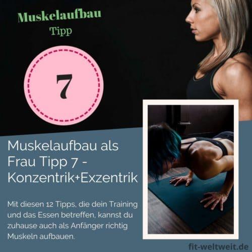 Muskelaufbau als Frau Tipp 7 – Konzentrik und Exzentrik - Tipp 7 Muskelwachstum. Um als #Frau Muskeln aufbauen zu können solltest du einige Tipps beachten. Mit diesen 12 Tipps, die dein Training und das Essen betreffen, kannst du zuhause auch als Anfänger richtig Muskeln aufbauen. Zusätzlich habe ich für dich einen #Muskelaufbau #Trainingsplan (speziell für Frauen) mit effektiven HIIT Übungen. Natürlich gelten die Tipps auch für Fitnessstudio Gänger. Die Tipps betreffen den gesamten Körper (Bauch, Beine, Brust, Po, Arme und Rücken).