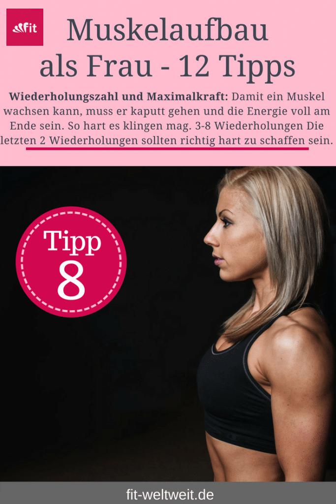 Tipp 8 Wiederholungszahl. Um als #Frau Muskeln aufbauen zu können solltest du einige Tipps beachten. Mit diesen 12 Tipps, die dein Training und das Essen betreffen, kannst du zuhause auch als Anfänger richtig Muskeln aufbauen. Zusätzlich habe ich für dich einen #Muskelaufbau #Trainingsplan (speziell für Frauen) mit effektiven HIIT Übungen. Natürlich gelten die Tipps auch für Fitnessstudio Gänger. Die Tipps betreffen den gesamten Körper (Bauch, Beine, Brust, Po, Arme und Rücken).