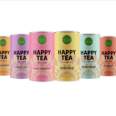 """Natural Mojo Happy Tea Set Erfahrung (Werbung) mit den Tee Sorten Sunrise Energy, Sunset Chill, Daily Comfort, Fruity Slim, Green Cleanse und dem Red Beauty.20% Rabatt gibt es mit """"fitweltweit20"""""""