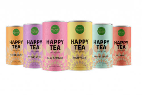 "Natural Mojo Happy Tea Set Erfahrung (Werbung) mit den Tee Sorten Sunrise Energy, Sunset Chill, Daily Comfort, Fruity Slim, Green Cleanse und dem Red Beauty. 20% Rabatt gibt es mit ""fitweltweit20"""