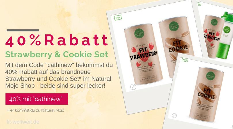 """Natural Mojo (Werbung) Strawberry Cookie Set 40% Rabattcode MAI AKTION: 40 % Rabattauf alle Cookie und Strawberry Sets mit dem Gutscheincode """"CATHINEW"""" (Begrenzt - nur solange der Vorrat reicht)"""
