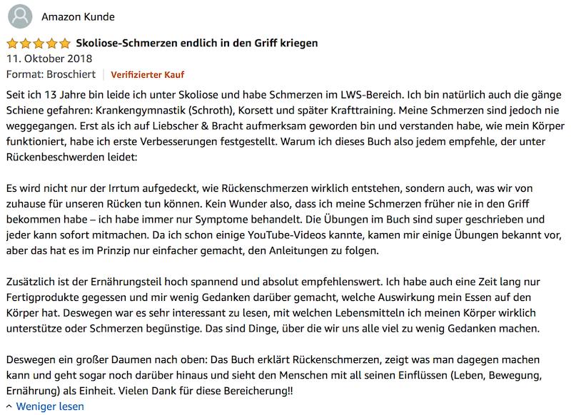 (Skoliose Schmerzen) - Meinung Liebscher Bracht Deutschland hat Rücken Buch