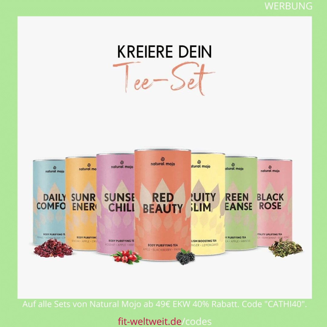 "Natural Mojo Happy Tea Set Erfahrung (Werbung) mit den Tee Sorten Sunrise Energy, Sunset Chill, Daily Comfort, Fruity Slim, Green Cleanse und dem Red Beauty. Frisch und lecker wird es nun auch bei den Jungs von Natural Mojo im Shop mit Red Blossom, Fruity Slim und Green Tea. 40 % Rabatt auf alle Natural Mojo Sets mit dem Rabattcode ""CATHI40"""