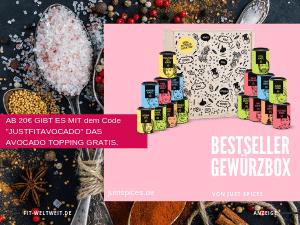"""Bestseller-Gewürzbox groß (16 Stk.) von Just Spices (Werbung) aus Gemüsebrühe, Hähnchen Gewürz, Turbo scharfes Gewürz, #Bolognese Gewürz, #Oatmeal Spice, Kräuter #Dressing, #Guacamole Gewürz, Bratkartoffel Gewürz, #Pizza Gewürz, BBQ Gewürz, Kaffeekuss, Fruchtiges Reisgewürz, #Rührei Gewürz, Kräuterquark #Gewürz, Italian Allrounder und Curry Madras für tolle Rezepte // Just Spices Gutschein Code """"justfitavocado"""" für ein Gratis Gewürz """"Avocado Topping"""" #vegan #kochen"""