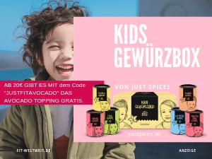 """Kids-Gewürzbox (6 Stk.) + Gratis Rezeptbuch für Kinder: Schoko Gewürz, Tomaten Soße Gewürz, Fleisch Gewürz, Fisch Gewürz, Gemüse Gewürz, Kartoffelgewürz. Und Just Spices Gutschein Code """"justfitweltweit"""" für ein Gratis Gewürz """"Italian Allrounder"""" (Werbung) Kochen mit Kindern und wie man lecker Kinder Speisen würzen kann. #Rezepte #Kinder #kochen"""