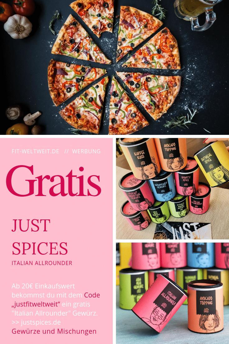 """#GEWÜRZE #KOCHEN #ANFÄNGER Just Spices Gewürze(Werbung) total verliebt und hatte damals ein Probierpaket mit 4 Gewürzen geschenkt bekommen. In diesem Blogpost gebe ich dir einen kurzen Einblick und du bekommen einen Rabattcode (""""justfitweltweit""""), womit du dir ein leckeres Gratis Gewürz (""""Italian Allrounder"""") sichern kannst. Ab einem Bestellwert von 20€ (Ich empfehle dir ein Probierset zu nehmen)"""