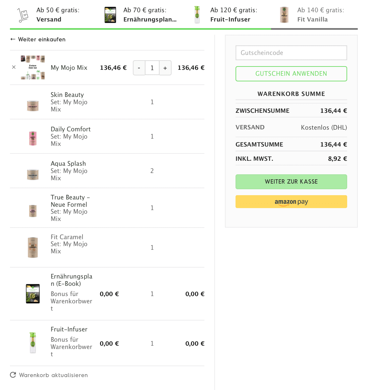 """Natural Mojo Code und Rabatt Gutscheine 2019 (Werbung):20 % Rabattauf den gesamten Natural Mojo Shop mit dem Gutscheincode """"FITWELTWEIT20"""",30 % Rabattauf alle Sets beiNatural Mojo mit dem Gutscheincode """"CATHISETS"""" (April Special 30% Rabatt +gratis Skin Beauty Caps mit dem Code: CATHISKIN) und 50 % Rabatt (2 für 1)auf dasSweet Lover Set mit""""CATHISWEET"""".Alle Infos zu den Natural Mojo Rabattcodes erhältst zu hier."""