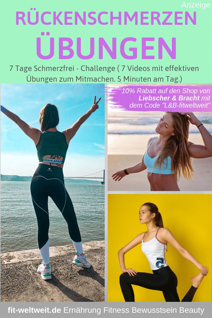 """Rückenschmerzen Übungen für zuhause - eine 7 Tages Challenge von Liebscher und Bracht mit einer Übungsreihe für Rückenschmerzen,um #Rückenschmerzen nachhaltig zu verbessern. #Schmerzen im oberen #Rücken, im unteren Rücken und in den Schultern - der ganze Rücken wird stärker. Auf meinem Blog gehe ich auf die Rückenschmerzen #Übungen ein,habe 7 Videos mit #Anleitungen zu den Übungen. 7 Tage mit je 5 Minuten genügen schon. Liebscher & Bracht 10% Rabatt im Shop mit """"L&B-fitweltweit"""" (Werbung)."""