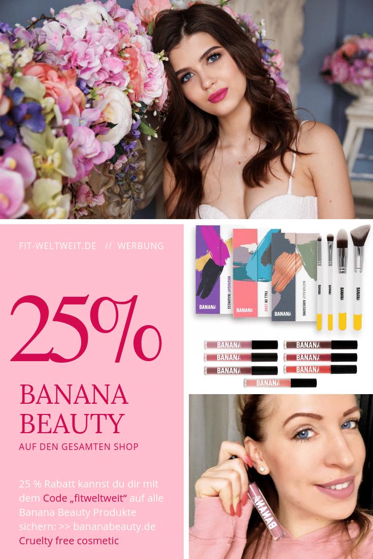 """BANANA BEAUTY Erfahrung und Rabatt Gutscheincode für den veganen Liquid Lipsticks und Eyeshadow von Instagram (25% Rabatt mit """"fitweltweit"""") #vegan #Kosmetik #Lidschatten #Beauty #BananaBeauty #Lippenstift"""