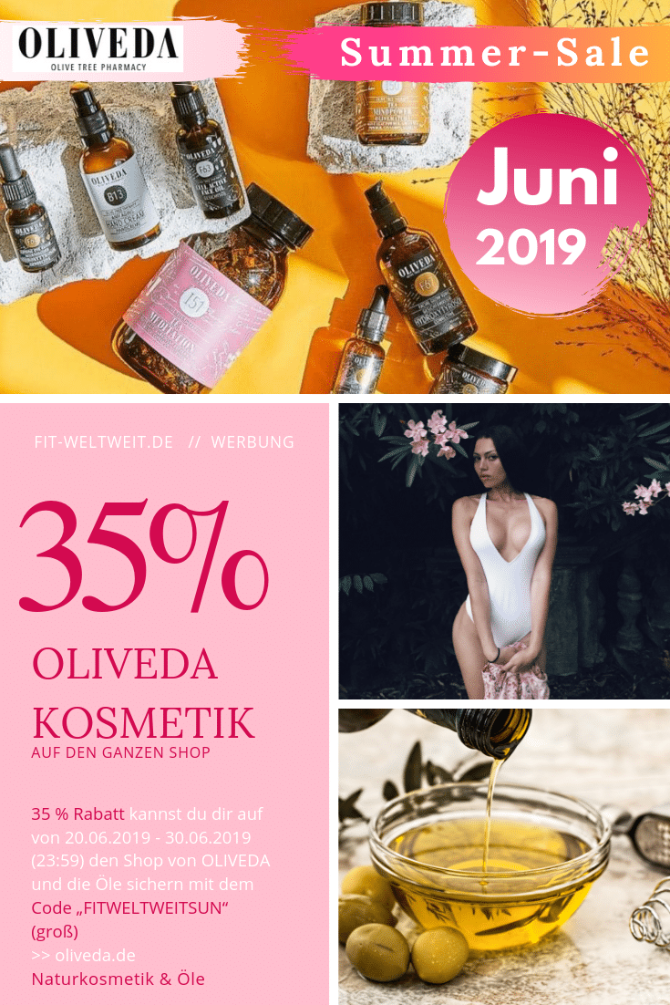 """OLIVEDA Sommer-Sale 20.06.19 - 30.06.19 (Werbung) Oliveda Summer Sale, wo du dann 35% Rabatt bekommst. Speichere dir den Code """"FITWELTWEITSUN"""", um 35% Sommer-Rabattzu bekommen. Auch diesen Code kannst du auf die Sets anwenden, und dann kannst du ja mit dem Rabattcode """"FITWELTWEITSUN"""" sogar über 50% Rabatt ggü. vom UVP sparen. MEGA! Special-RabattcodeAktionen (25% Rabatt) #BEAUTY #HAUT #OLIVEN #VEGAN #Rabattcode #Gutscheincode #Hautpflege #Pickel #Haare"""