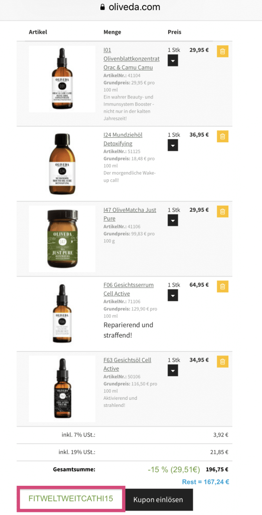 """OLIVEDA Naturkosmetik August 2019: bis zu 50% Rabatt ohne Anmeldung // #BEAUTY für innen und außen. #Ölziehen für eine gesunde Mundhygiene und reine #Haut im #Gesicht (ohne #Pickel). Immunbooster Drinks für dein Immunsystem. (Seren, Öle, Gesicht , Mund, Olivenöl, …) #OLIVEDA #ERFAHRUNGEN und #REVIEW 15 % Rabatt kannst du dir mit dem Code """"FITWELTWEITCATHI15"""" (groß geschrieben) sichern auf alle Produkte von OLIVEDA ohne Mindestbestellwert + 30% Set Rabatt. Bis zu 40% Rabatt regulär. (Werbung)"""