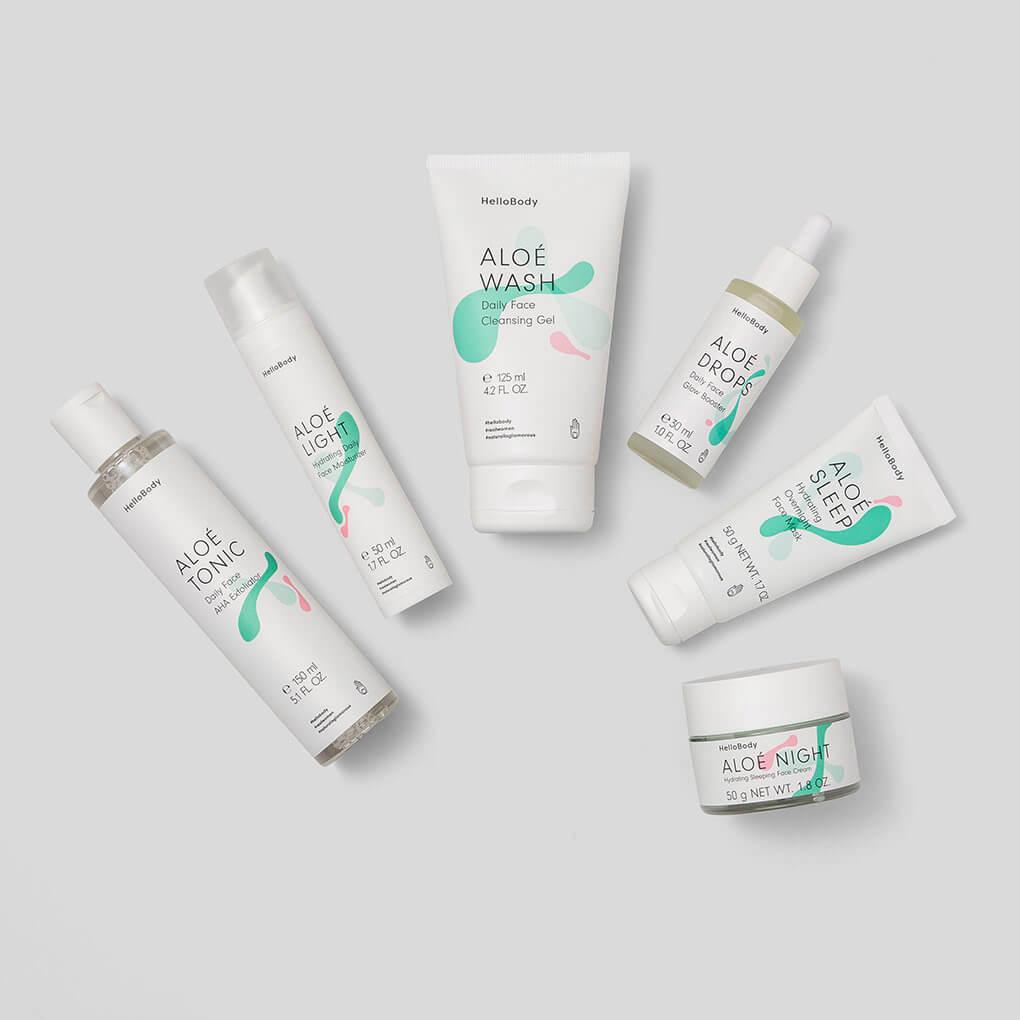 """Aloe All Face Set #Haut #Hautpflege #HelloBody #Gesicht Hello Body ALOÉ DROPS Daily Face Glow Booster(Werbung) Anwendung und Wirkung: Die Inhaltsstoffe haben ja extrem wirkungsvolle Eigenschaften, besonders wenn du mit sehr trockener Haut, Narben, Altersflecken oder anderen Hautproblemen zu kämpfen hast, die deine Haut müde und fahl aussehen lassen. So sieht auch dein #MAKEUP wieder frisch & gleichmäßig aus. (30% Rabatt auf alle Hello Body Sets mit dem Code """"cathiset"""")"""