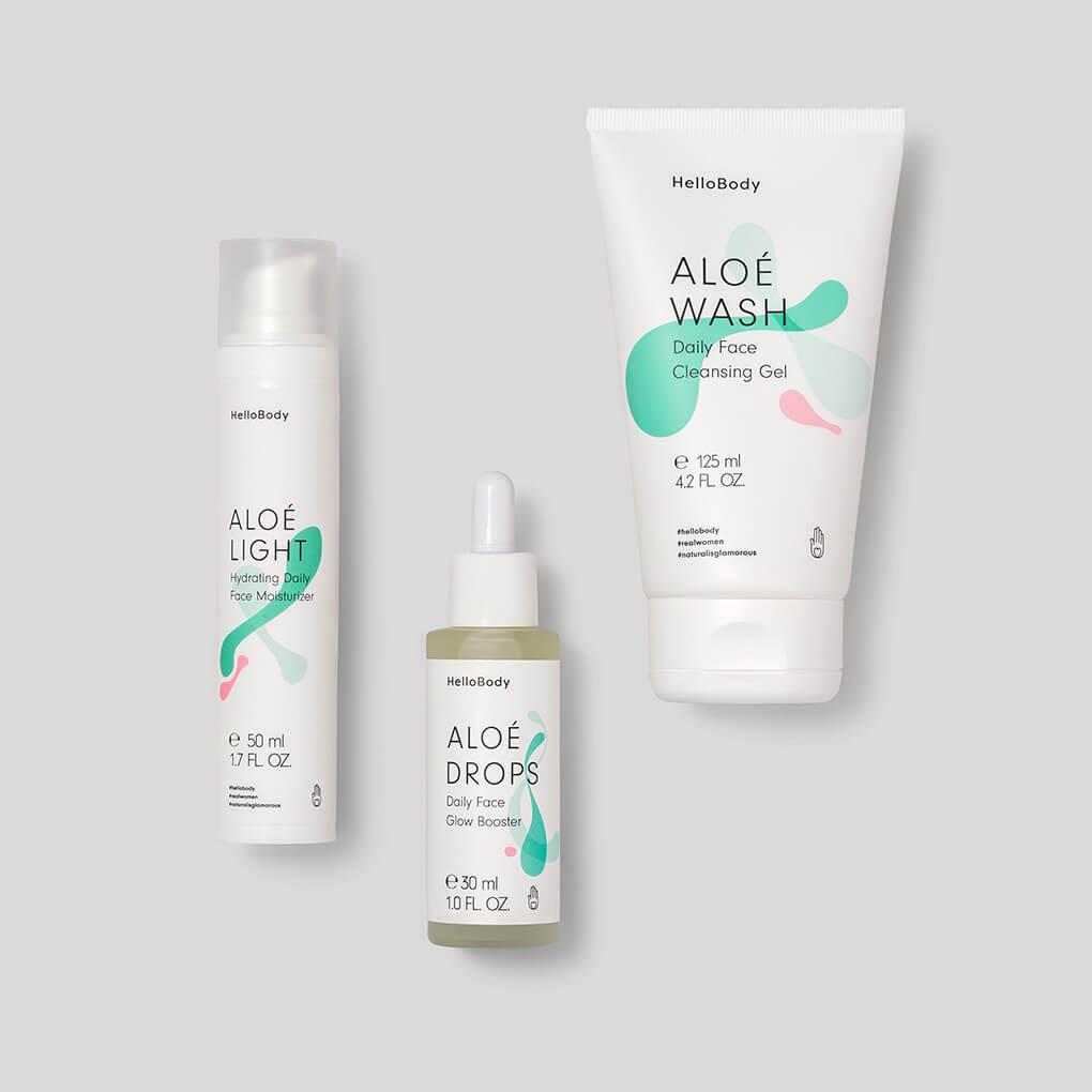 """All Sunrice Glow Set #Haut #Hautpflege #HelloBody #Gesicht Hello Body ALOÉ DROPS Daily Face Glow Booster(Werbung) Anwendung und Wirkung: Die Inhaltsstoffe haben ja extrem wirkungsvolle Eigenschaften, besonders wenn du mit sehr trockener Haut, Narben, Altersflecken oder anderen Hautproblemen zu kämpfen hast, die deine Haut müde und fahl aussehen lassen. So sieht auch dein #MAKEUP wieder frisch & gleichmäßig aus. (30% Rabatt auf alle Hello Body Sets mit dem Code """"cathiset"""")"""
