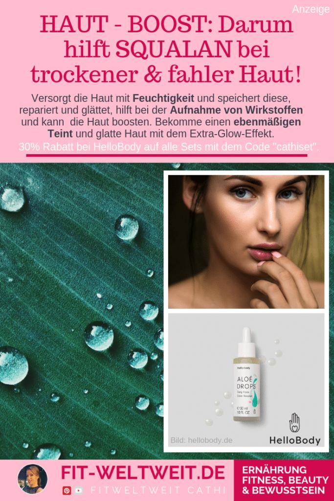"""FEUCHTIGKEITSBOOST #SQUALAN #Gesicht #MakeUp #trockene #Haut #Hautpflege #Feuchtigkeit #Teint Darum hilft Squalanbei trockener, fahler Haut, #Falten , #Müdigkeit und müder Haut!Versorgt sie mit Feuchtigkeit, speichert diese, repariert & glättet, hilft bei der Aufnahme von Wirkstoffen und kann die Haut boosten. Bekomme einen ebenmäßigen Teint und glatte Haut mit dem Extra-Glow-Effek::Aloé Drops Daily Face Glow Booster,30% Rabatt bei#HelloBody auf alle Sets mit dem Code """"cathiset"""". (Werbung)"""