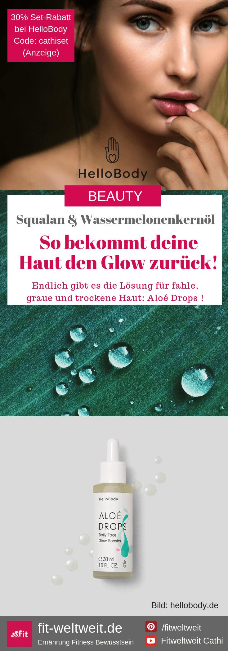 """FEUCHTIGKEITSBOOST #Gesicht #MakeUp #trockene #Haut #Hautpflege #Feuchtigkeit #Teint Darum hilft Wassermelonenkernölbei trockener, fahler Haut, #Falten #Müdigkeit und müder Haut!Versorgt sie mit Feuchtigkeit und speichert diese, repariert und glättet, wirkt entzündungshemmend und kann das Haut-Milieu schützen. Bekomme einen ebenmäßigen Teint und glatte Haut mit dem Extra-Glow-Effekt:Aloé Drops Daily Face Glow Booster30% Rabatt beiHelloBody auf alle Sets mit dem Code """"cathiset"""". (Werbung)"""