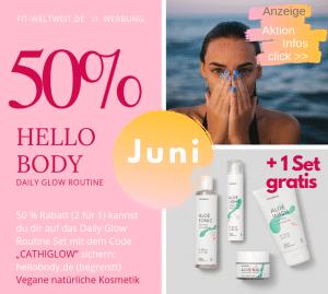 """#HelloBody Code Juni Aktion 2019 Aloé Vera Daily Glow Routine Set (Werbung). Perfekt für unreine #Haut, #Hautunreinheiten, #Pickel oder als #AkneFace-Routine.Mein absolutes Lieblingsset vonHelloBody(das """"Daily Glow Routine"""" Set) bekommst du mit 50% Rabatt, also 2 Sets zum Preis von einem. 1 Daily Glow Routine Set in den Warenkorb legen, bei Gutscheincode dann den Rabattcode """"CATHIGLOW"""" eingeben: Das zweiteSet mit dem Aloé Wash, Tonic, Light und Night wird gratis hinzugefügt. #aloevera #Gesicht"""