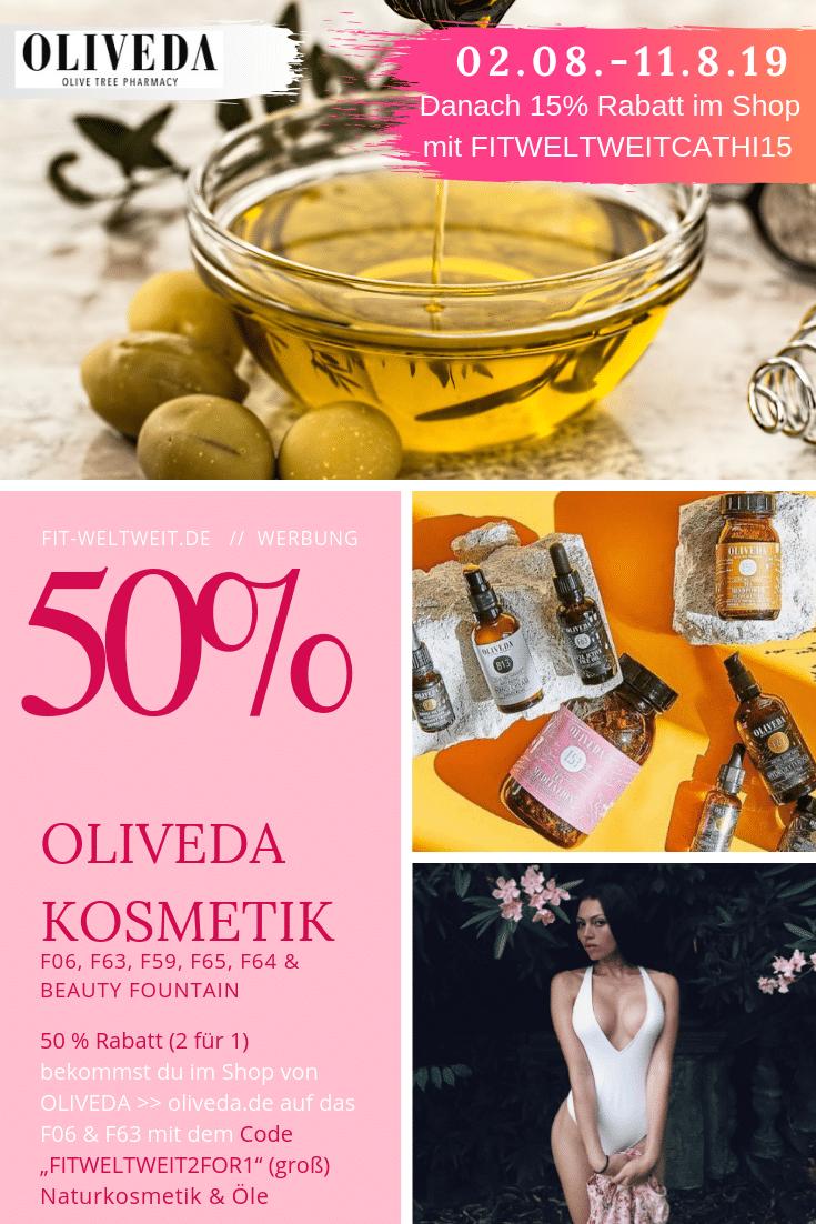 """OLIVEDA 50% Rabatt - 2 für 1 auf F06, F63, F64, F65, ... Naturkosmetik Juni 2019: bis zu 50% Rabatt ohne Anmeldung // #BEAUTY für innen und außen. #Ölziehen für eine gesunde Mundhygiene und reine #Haut im #Gesicht (ohne #Pickel). Immunbooster Drinks für dein Immunsystem. (Seren, Öle, Gesicht , Mund, Olivenöl, …) #OLIVEDA #ERFAHRUNGEN und #REVIEW 15 % Rabatt kannst du dir mit dem Code """"FITWELTWEITCATHI15"""" (groß geschrieben) sichern auf alle Produkte von OLIVEDA ohne Mindestbestellwert + 30% Set Rabatt. Bis zu 40% Rabatt regulär. (Werbung)"""
