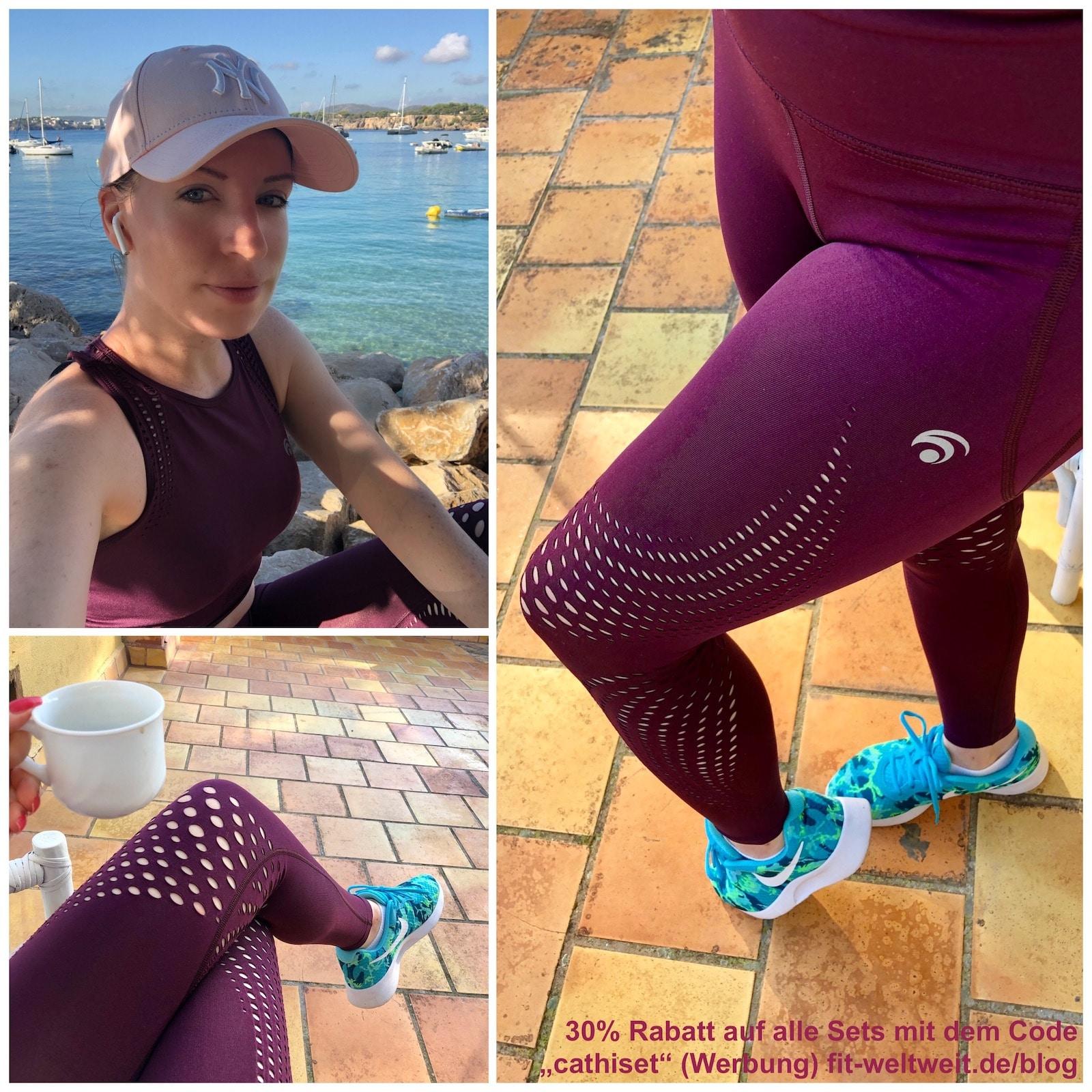 """Dieses Set ist vom Tragekomfort mega geil. Es hat wunderschöne Cut-Outs/Mesh Einsätze, die auch sehr sexy sind und der Figur schmeicheln mit Shape Effekt. Auch der Booty bekommt eine mega Form. Allerdings hat der Bra keine Cups, fühlt sich super weich an und ist für Yoga extrem gut geeignet. 30% Rabatt auf alle Sets bei #oceansapart mit dem Code """"cathiset"""" (Werbung). #yoga #fitnesswear #fitness #muskelaufbau #joggen"""