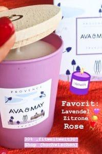 Ava & May Duftkerze Provence France mit dem Duft nach Lavendel, Zitrone und Rose.