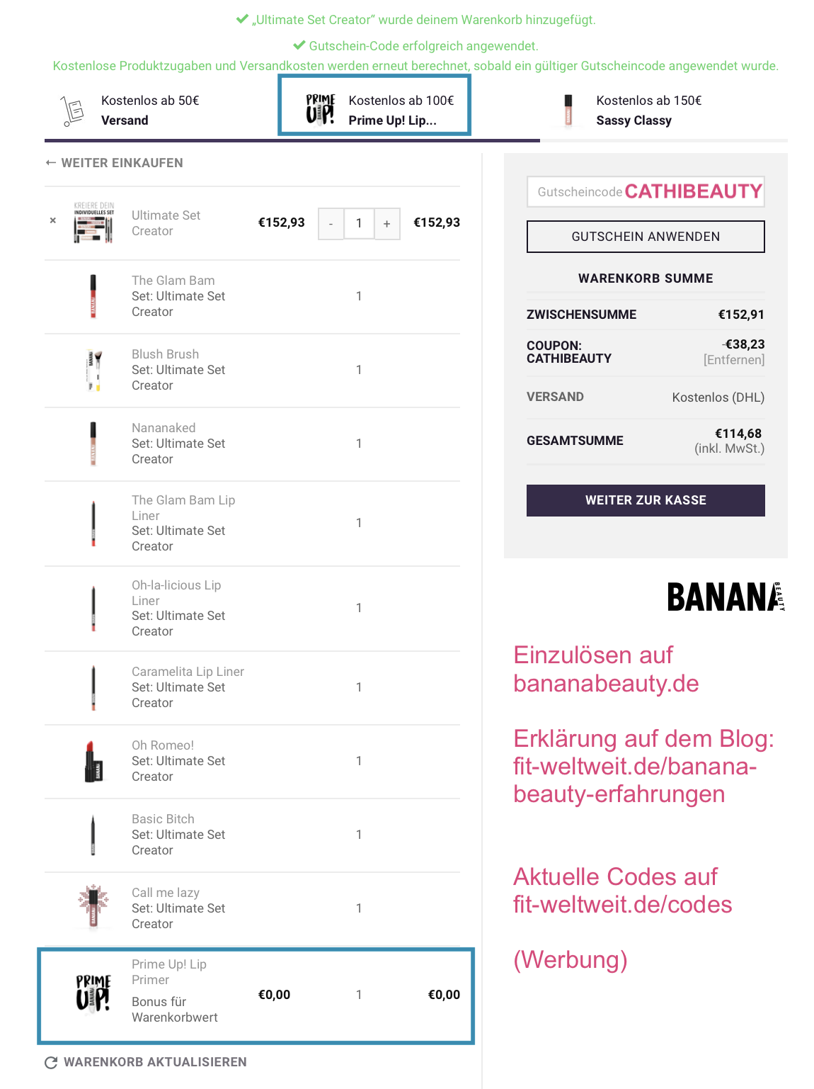 """BANANA BEAUTY CODE 2019 und Rabatt Gutscheincode für den veganen Liquid Lipsticks und Eyeshadow von Instagram (25% Rabatt mit """"fitweltweit"""") #vegan #Kosmetik #Lidschatten #Beauty #BananaBeauty #Lippenstift + gratis Lip Primer (Werbung)"""