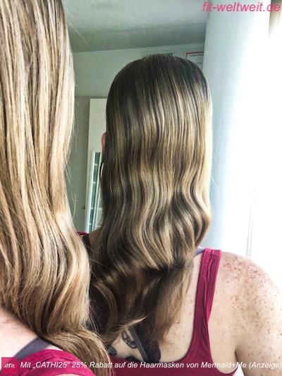 """#HAARE #HAARPFLEGE #LANGEHAARE #HAARKUR und #HAARMASKE von MERMAID + ME 25% Rabatt mit #Gutscheincode """"cathi25"""" (Werbung) Ich habe die Haarmaske bis dato erst 3 mal angewendet, dass sie über Nacht 10cm nach Ansatz bis in den Spitzen einmassiert war. Damit geschlafen und morgens ausgewaschen. Bild: Haare sind extra nur gekämmt, nicht geglättet, total ungestylt. Eine meine #Naturwellen, kein Haarschnitt, kein Haarspray, kein #Haaröl oder ähnliches sind drin. Ich habe keine Filter verwendet."""