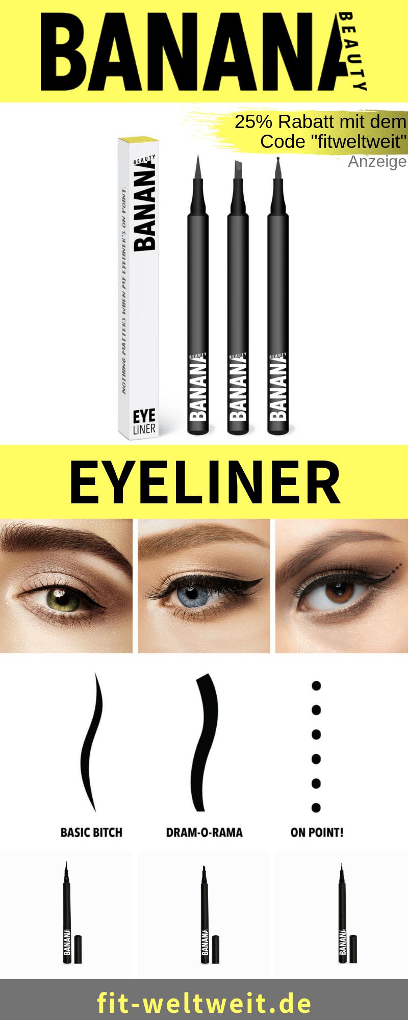 """Neu bei Banana Beauty sinddie Eyelinergibt (Werbung). Klassischen Eyeliner auftragen, im Set 3 verschiedene #Eyeliner Arten. Derperfekte Augenschwung. Schwarz, matte und hält bis zu 24 Stunden, verschmiert nicht. Eyeliner Basic Bitch ist elegant,Drama-O-Rama sexy, für ein richtiges Cat-Eye und mit dem On Point! fürpunktuell Akzente. 25% Rabatt mit dem Code """"fitweltweit"""". #Augen #MakeUp"""