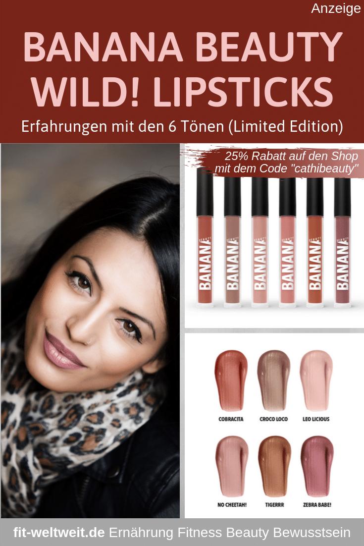 """BANANA BEAUTY Stay Wild! Limited Edition der Liquid Lipsticks (Werbung) 6 unglaublich tollen Nude-Farben der Liquid Lipsticks: Cobracita, Croco loco, No Cheetah!, Leo licious, Zebra babe! und Tigerrr. Sehr guteErfahrungen der Superstay Lipsticks und den langhalternden #Lipliner Mit demRabattcode """"cathibeauty""""bekommst du imBanana Beauty Online Shop25% Rabattauf das gesamte Sortiment. #bananabeauty #vegan #geschenk #weihnachten #geschenkset #lippenstift #lipgloss #rabattcode #gutscheincode"""