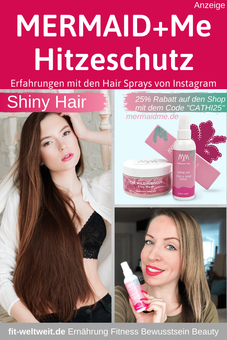 """Mermaid + Me Hair Spray Erfahrungen: SHINE ON Heat &ShineSpray (Hitzeschutz und Glanz Spray) für Shiny Hair (Werbung).Nutze den Code 2020 """"CATHI25""""und du bekommst25% Rabatt auf den gesamten Shop, alle Sets und alle Produkte #Haare #Haar #Frisuren"""