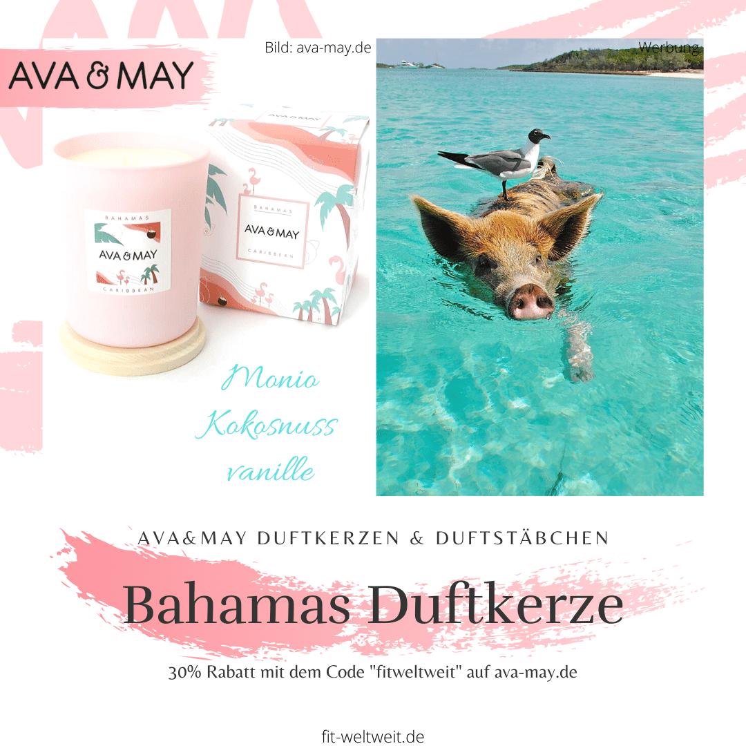 """#Bahamas Duftkerze, #Karibik Caribbean Duftkerzeriecht süßlich sanftnach den idyllischenDuftnoten Monoi, Kokosnuss und Vanille und erinnert an die weißen Stränge, türkisblauen Meere mit seinen schwimmenden Schweinen. // Eigenschaften: 100% Soja-Wachs, 40 Stunden Brenndauer, Echtholzdeckel - perfekt als Untersetzer geeignet #Duftkerzen #Wohnzimmer #cozy #einrichtung #badezimmer #wohnung #wohnen #design #deko #dekoration #reisen / Ava & May Shop mit dem Code """"fitweltweit"""" 30% Rabatt (Werbung)"""