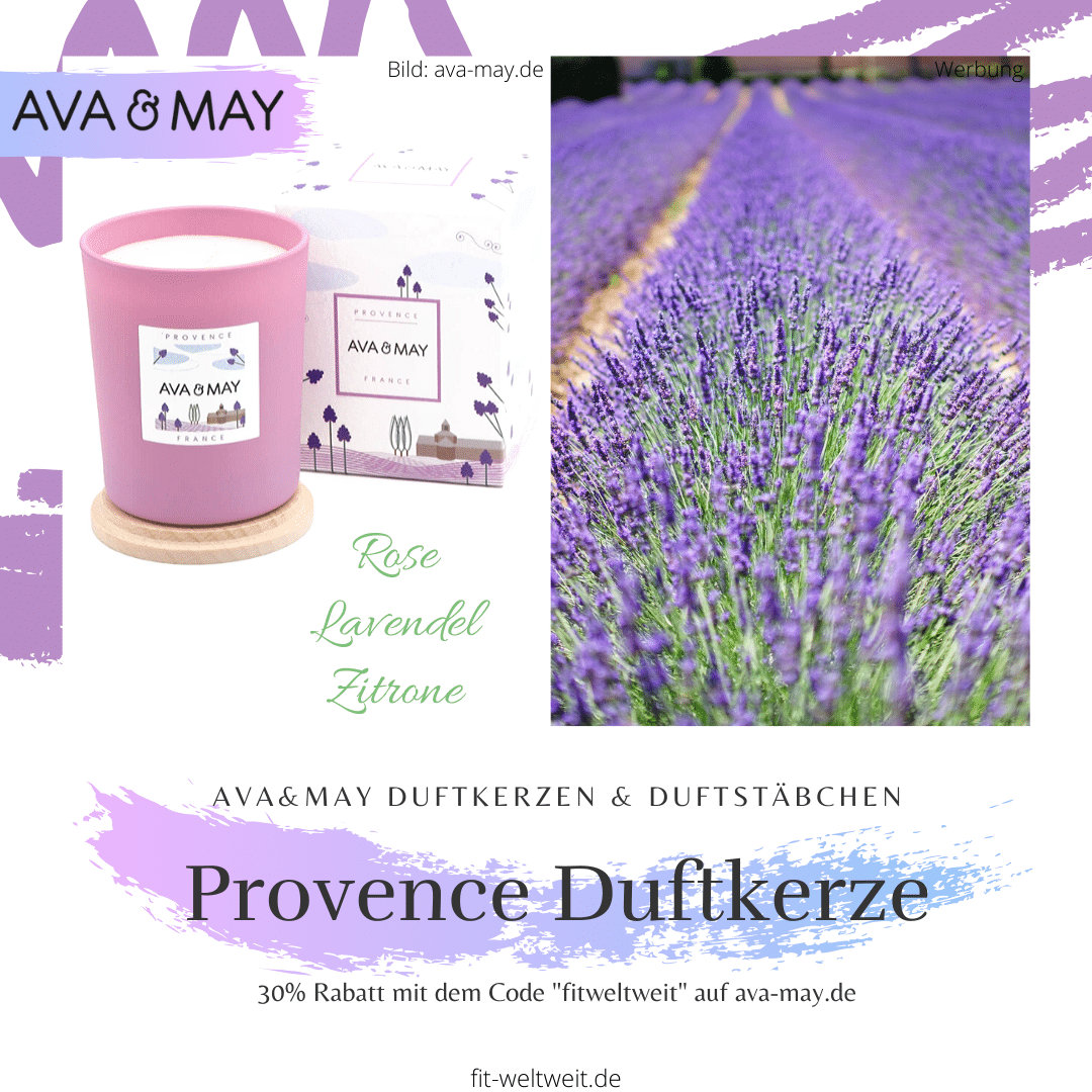 """DieProvence France #Duftkerzeriecht bezaubernd natürlichnach den frischenDuftnoten #Lavendel, #Rose und #Zitrone. Der Duft nach der blumigen Provence und der malerischen Region Frankreichs. // Eigenschaften: 100% Soja-Wachs, 40 Stunden Brenndauer, Echtholzdeckel - auch perfekt als Untersetzer geeignet #Duftkerzen #Wohnzimmer #cozy #einrichtung #badezimmer #wohnung #wohnen #deko #dekoration #reisen Ava & May Shop mit dem Code """"fitweltweit"""" 30% Rabatt (Werbung)"""