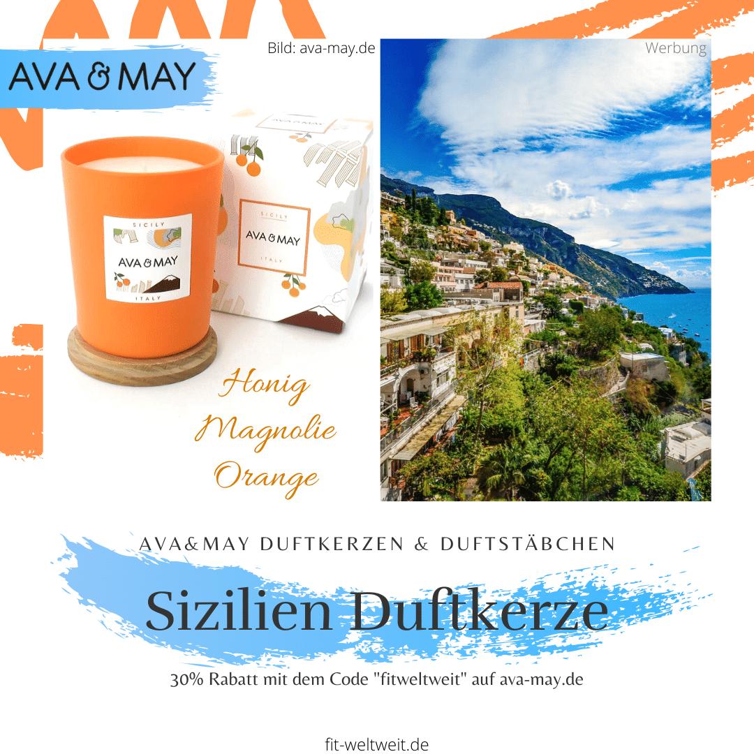 """#Sizilien Duftkerze, #Italien – Honig, Magnolie, Orange / Die Sizilien Duftkerzebringt die Frische Italiens in dein zuhause. Orangen Plantagen, Vulkan Gesteine und eine urige Altstadt // Eigenschaften: 100% Soja-Wachs, 40 Stunden Brenndauer, Echtholzdeckel - auch perfekt als Untersetzer geeignet #Duftkerzen #Wohnzimmer #cozy #einrichtung #badezimmer #wohnung #wohnen #design #deko #dekoration #reisen / Ava & May Shop mit dem Code """"fitweltweit"""" 30% Rabatt (Werbung)"""