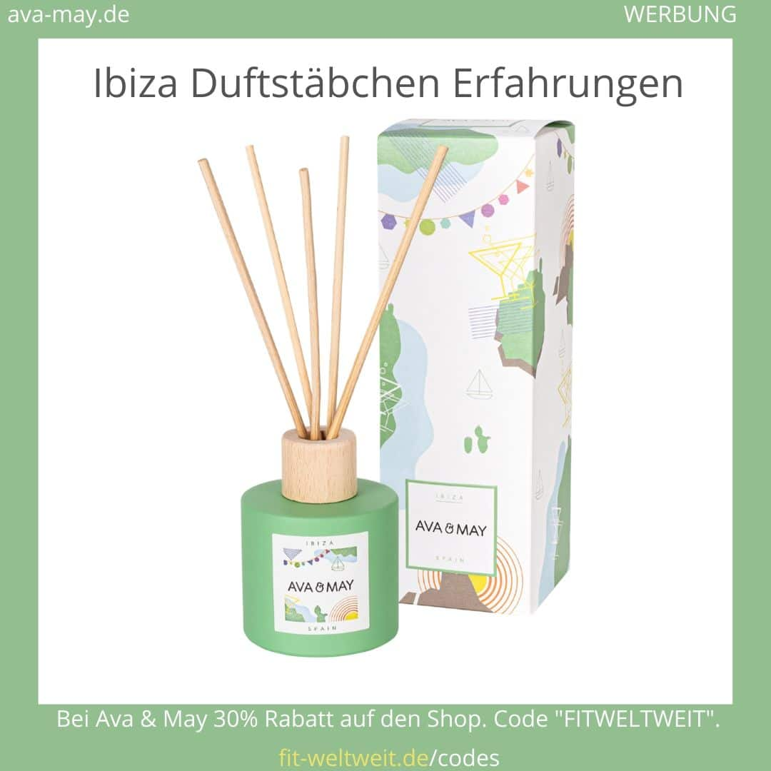 """Ibiza Spain Duftstäbchen // Ava & May Erfahrungen (Duftstäbchen & Duftkerzen) #DUFTKERZEN #DIFFUSER #REISEN #SOMMER #BADEZIMMER #WOHNZIMMER #AVAMAY // AVA & MAY Diffuser riechen nach Reisen in die Ferne, ins Gebirge, die Wüste oder ans Meer. Natürliche Düfte und wunderschöne Flakons. AKTION ✅ 25% Rabatt auf alle Duftstäbchen, sogar über 30% Rabatt auf Sets. Nutze den Code """"fitweltweit"""" und spare auf deinen gesamten Einkauf. Andere Sorten: Bahamas, Sizilien, Santorini, Sri Lanka (Werbung)"""