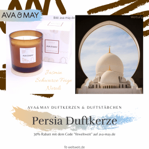 """Persia Duftkerze / #Persien – Duftnoten: Jasmin, schwarze Feige, Neroli. Bunte, gestickte Kissen und Teppiche zaubern ein stillvolles, warmes Zuhause und eine Oase der Ruhe. Draußen der hellblaue Himmel / Eigenschaften: 100% Soja-Wachs, 70 Stunden Brenndauer, Echtholzdeckel - auch perfekt als Untersetzer geeignet #Duftkerzen #Wohnzimmer #cozy #einrichtung #badezimmer #wohnung #wohnen #design #deko #dekoration #reisen / Ava & May Shop mit dem Code """"fitweltweit"""" 30% Rabatt (Werbung)"""