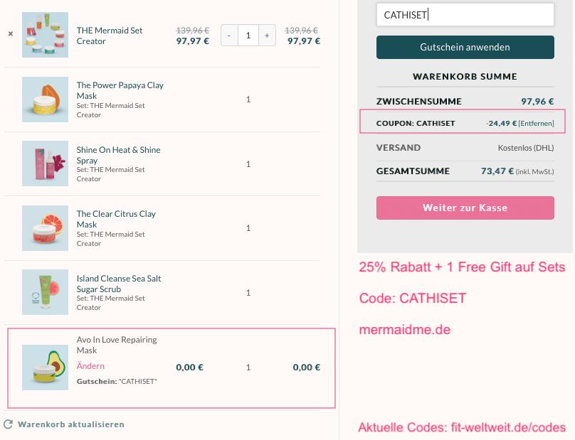 """Mermaid+Me Instagram Code: Special bis 31.01.20 - 0:00 Uhr: 25% Rabatt auf Sets + 1 Free Gift mit dem Code """"cathiset"""". Gilt für fertige Sets oder auch den neuen Set-Creator, mit dem du ab 2 Produkte 14%, ab 3 Produkte 28% und ab 4 Produkte sogar 30% Extra-Rabatt bekommst. Also im Gesamten circa 50% Rabat + 1 Free Gift."""