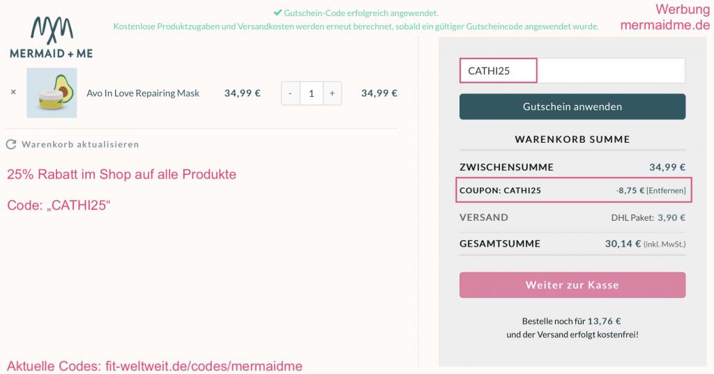"""Mermaid Me 25% Rabatt Gutscheincode Auf den gesamten Mermaid and Me Shop bekommst du 25% Rabatt mit dem Code """"cathi25"""". Dieser Codes eignet sich, wenn du nur 1 Produkt testen oder bestellen möchtest. >> Anleitung für den Rabattcode >> Mermaid+Me alle Produkte ansehen (Code ist schon aktiviert) #Haare #Haarpflege #Rabattcode #Gutscheincode #Code #Instagram #Influencer #Coupons #Coupon #Beautyblogger"""