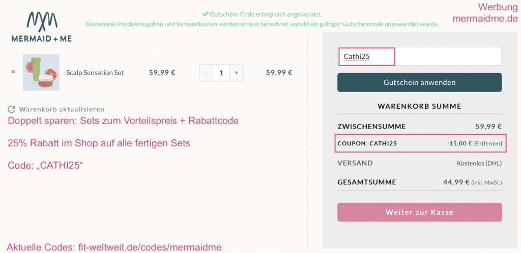 """Mermaid Me bis 45% Gesamtrabatt 30% Set 25% Rabatt Auf alle fertigen Sets von Mermaid and Me bekommst du bis zu 30% Rabatt als Vorteilspreis und nochmal extra 25% Rabatt mit dem Code """"cathi25"""". Dieser Codes eignet sich, wenn du ein fertiges Set bestellen möchtest. >> Anleitung für den Rabattcode >> Mermaid+Me alle Sets ansehen (Code ist schon aktiviert) #Haare #Haarpflege #Rabattcode #Gutscheincode #Code #Instagram #Influencer #Coupons #Coupon #Beautyblogger"""